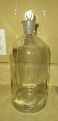Large Vintage Glass Apothecary Bottle with Ground Glass Stopper