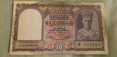 10 Rupees Vf/ef  Banknote From Burma 1945!pick-18!rare