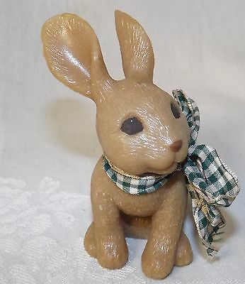 """Sarah's Attic Bunny in Sitting Position w/ Plaid Wire Neck Bow Figurine New 3.5"""""""