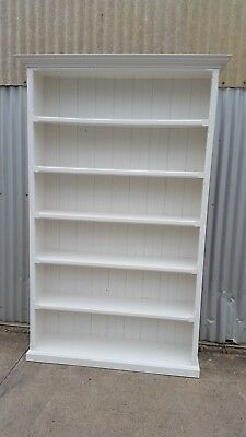 Large WHITE Bookcase BOOK Shelves SOLID Timber SHABBY Chic BOHO Hamptons