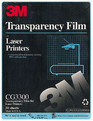 3M Transparency Film for Laser Printers, CG3360, New, Factory Sealed, 50 sheets