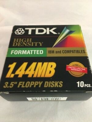 "TDK 3.5"" Floppy Disks 1.44mb 10 Pack Unused"