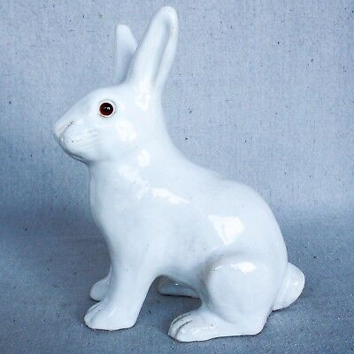 Vintage French Bavent Normandy Easter Bunny Rabbit Faience Earthenware Pottery