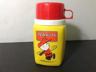 Vintage Peanuts Thermos with Red Cup Lid Charlie Brown 1950 Batter 8oz