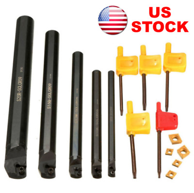 7/10/12/16/20mm SCLCR Lathe Boring Bar Turning Tool Holder +5 CCMT060204 Inserts