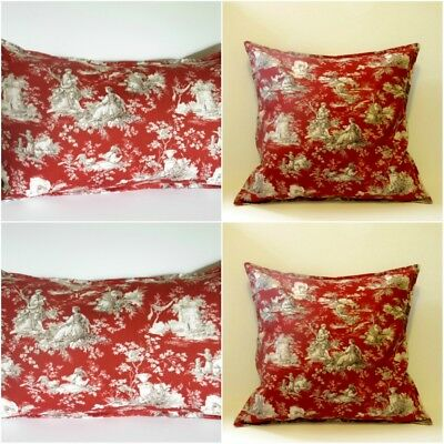 French Country Toile Pillow Cover 18 X Red Cotton Home Decor Waverly Fabric