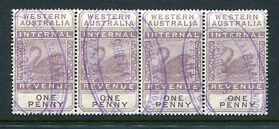 Western Australian Internal Revenue 1 penny strip of 4