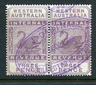 Western Australian Internal Revenue 3 pence R45 strip of 2