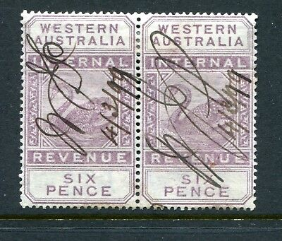 Western Australian Internal Revenue 6 pence R46 strip of 2