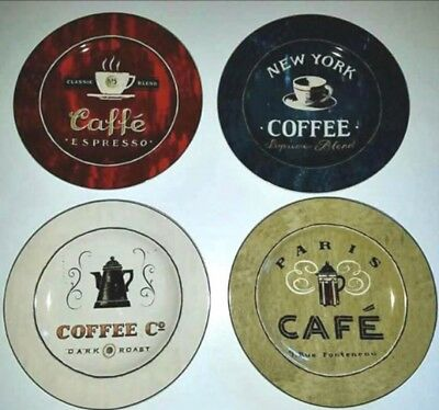 "NEW set of 4 SAKURA ""COFFEE BREAK"" STONEWARE PLATES 8"""