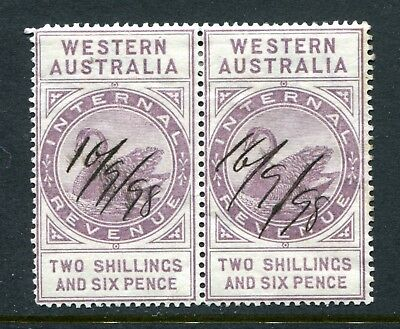 Western Australian Internal Revenue 2/- 6 pence R48 strip of 2