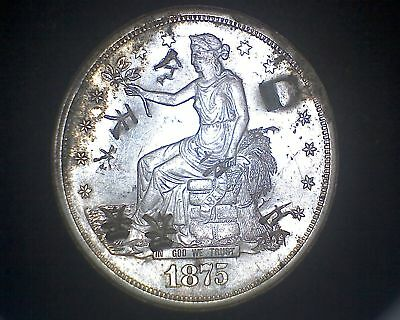 1875-S United States Silver Trade Dollar With Chopmarks