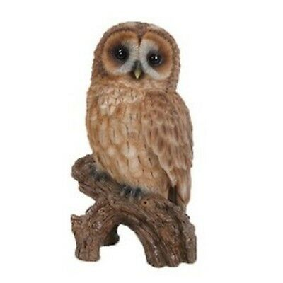 TAWNY OWL ON STUMP SMALL - Realistic Life Like Figurine Statue Home / Garden new