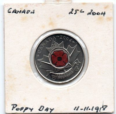 Canada 2004 25c UNC/col coin- Poppy Day 11.11.1918