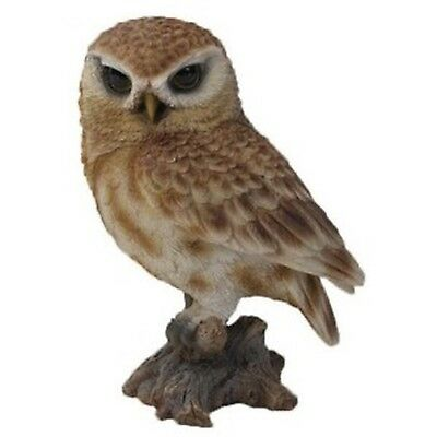 BROWN OWL ON STUMP SMALL - Realistic Life Like Figurine Statue Home / Garden new