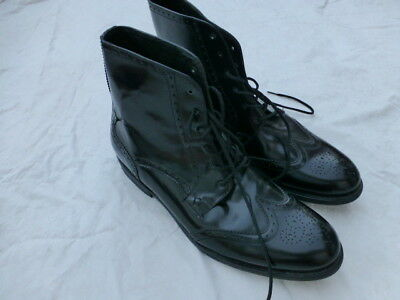 Mens Jd Fisk Dress Shoes Ankle Boots Shiny Black Leather Size 12