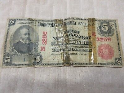 $5.00 Currency Bank Note National Bank of Menominee Michigan Oct 2 1904 ROUGH