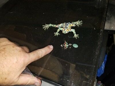 Mosaic Frog Art - Piece of Jade Jewelry - Negro Brooch Lapel Pin - African
