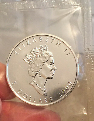 2000 Silver Canadian Maple Leaf- Millennium _ .9999 Pure Silver - Fresh Air-Tite