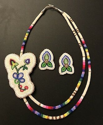 Native American Beaded Powwow Style Necklace And Earrings Set