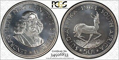 1964 South Africa Silver 50 Cents PCGS PR67