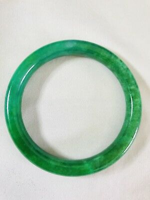 Vintage Translucent Natural Green Jadeite Jade Bangle Bracelet 58MM