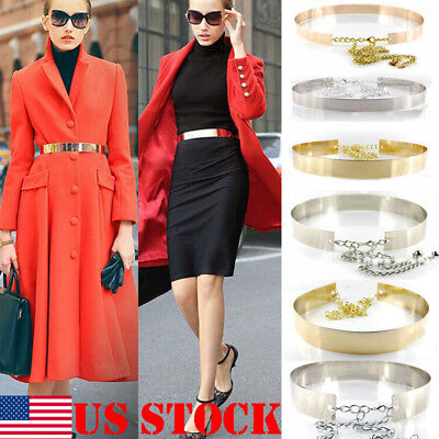 US Women Adjustable Metal Waist Belt Metallic Bling Gold Plate slim Simple Belt