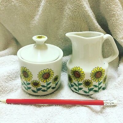 Vintge Yellow Sunflowers Sugar Bowl And Milk Jug Made Japan
