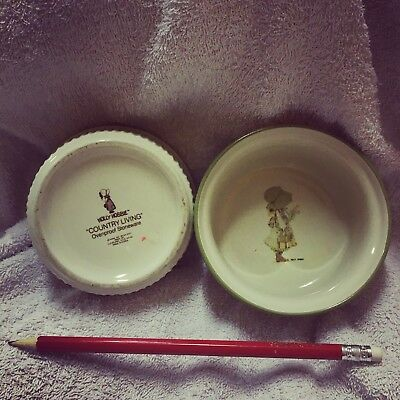 Vintage Green Country Holly Hobbie Pair Of Ceramic Ramekins