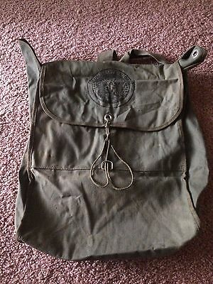 Boy Scout Green Canvas Columbia Official Camper Backpack Bag
