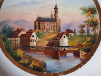 Antique Old Paris Finely Hand Paint Cathedral Church House Bridge Scenic Plate