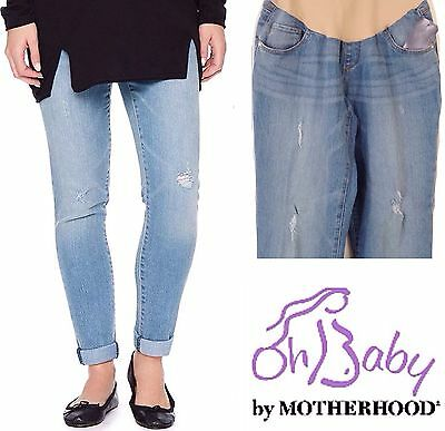 New MOTHERHOOD MATERNITY Destructed Blue Jeans M 8-10 L 12-14 Slim Straight $58