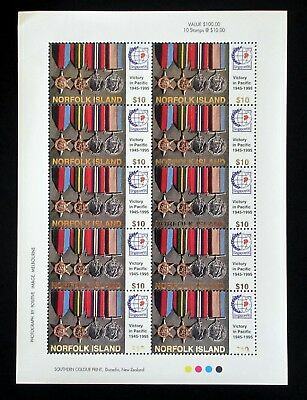 1995 Norfolk Island 50th Anniversary End Of World War II $10 Stamp Sheet of 10