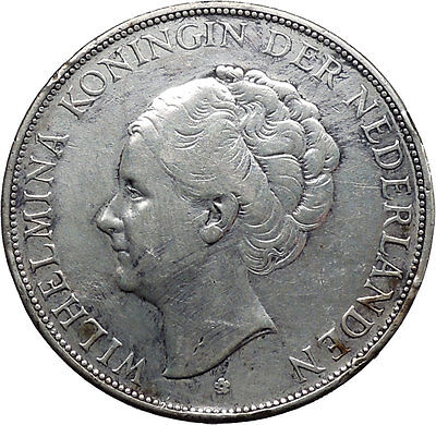 1938 Netherlands Queen WILHELMINA 2 1/2 Gulden Large Silver Coin i45531