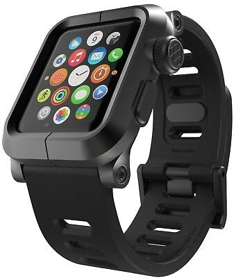 Apple Watch Band Aluminum Armor Case Soft Silicone 42mm Series 1 Black New