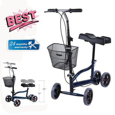 New Steerable Foldable Knee Walker Scooter Adjustable Foldable Brake Blue US VIP