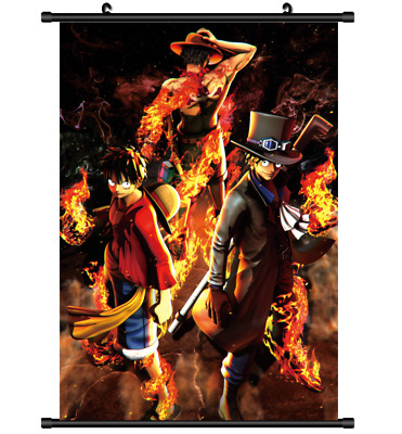 B4395 One Piece Luffy Ace ASL anime manga Wallscroll Stoffposter 25x35cm