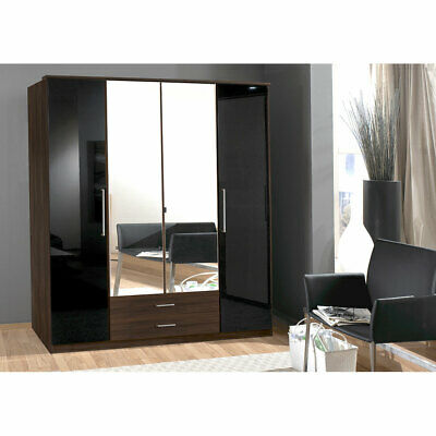 kleiderschrank hochglanz weiss panarea 200 cm mit led und spiegel neu eur 399 00 picclick de. Black Bedroom Furniture Sets. Home Design Ideas