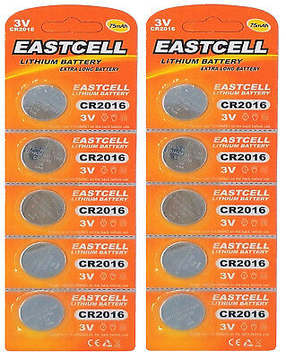 10 x CR2016 3V Lithium Knopfzelle 75 mAh ( 2 Blistercard a 5 Batterien )EASTCELL