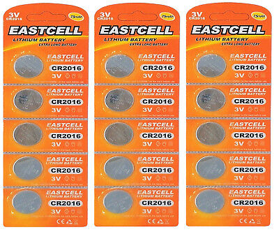 15 x CR2016 3V Lithium Knopfzelle 75 mAh ( 3 Blistercard a 5 Batterien )EASTCELL