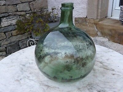 Free-blown  french antique green glass demijohn carboy