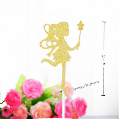Cake Topper Gold Glitter Fairy Wings Star Wand Paper Card Girl Birthday Party
