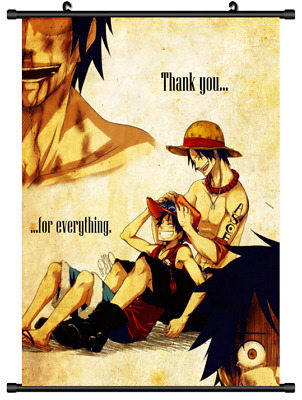 B3996 One Piece Luffy Ace anime manga Wallscroll Stoffposter 25x35cm
