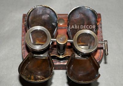 Vintage Brass Binoculars With Leather Case Royal Navy Engraved Steampunk Memory