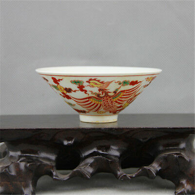 Chinese Old Marked Wucai Colored Pair Phoenix Pattern Porcelain Bamboo Hat Cup