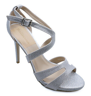 Ladies Silver Strappy Elegant Evening Party Prom Peep-Toe Sandals Shoes Size 3-8