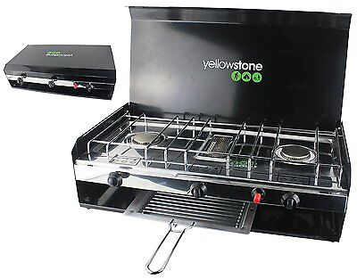 HQ Deluxe Camping Folding Double Burner Stove Portable Cooker With Grill & Lid