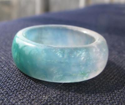 antique natural blue jade hand carved band ring size10