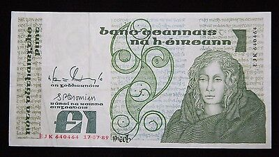 IRELAND £1 POUND CENTRAL BANK OF IRELAND 17.07.1989 BANKNOTE P 70d