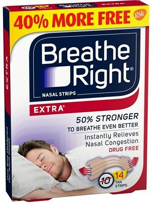 Breathe Right Nasal Strips Extra 10 + 4 = 14 Tan Strips One Size Adult Sealed